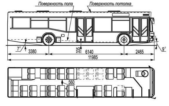 Схема Автобуса МАЗ 103562