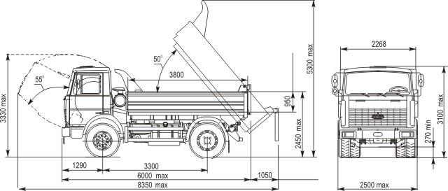 Габаритные размеры МАЗ 5551А2-323