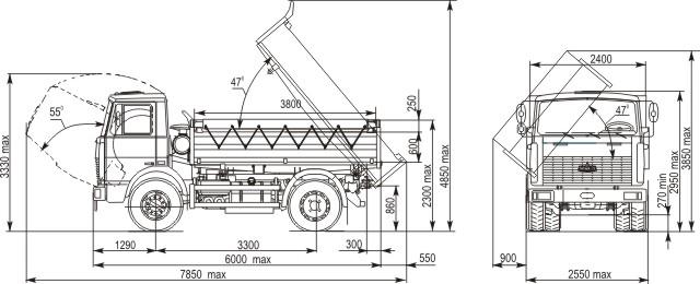 Габаритные размеры МАЗ 5551А2-325