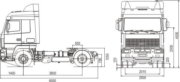 Габаритные размеры тягача МАЗ 5440А5-330-000