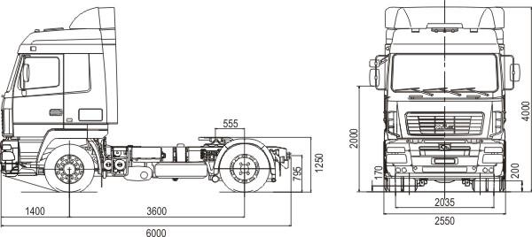 Габаритные размеры МАЗ 5440А9-1320-030