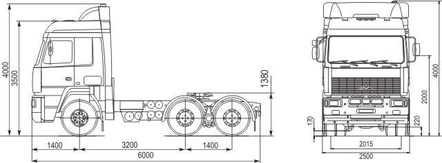 Габаритные размеры седельного тягача МАЗ 643018-320-011