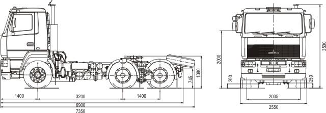 Габаритные размеры седельного тягача МАЗ 6430А8-379-012