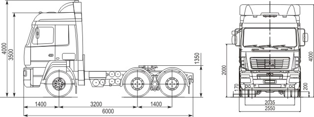 Габаритные размеры МАЗ 6430А9-1320-010